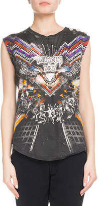 Balmain Sleeveless Flash-Print 3-Button Jersey Top