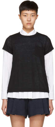 Sacai Black and Navy Hybrid Lace T-Shirt