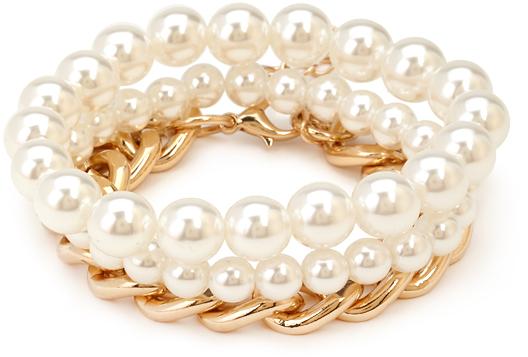 Forever 21 Faux Pearl Chain Bracelet Set