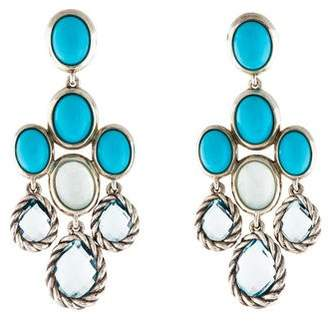David Yurman Turquoise, Milky Quartz & Topaz Grisaille Chandelier Earrings