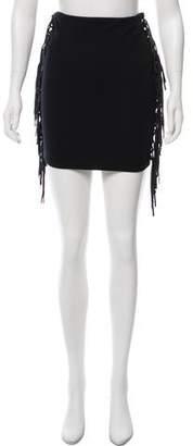 Torn By Ronny Kobo Fringe Accented Mini Skirt