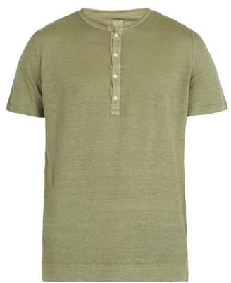 120% Lino Henley Linen Jersey T Shirt - Mens - Khaki
