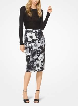Michael Kors Floral Stretch-Cady Pencil Skirt