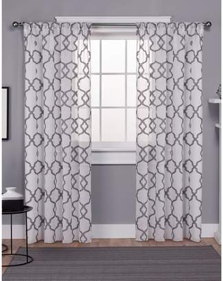 Home Outfitters Jacquard Sheer Rod Pocket Window Curtain Panel Pair