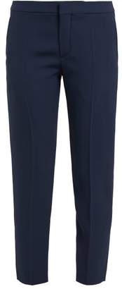 Chloé Cropped Tailored Crepe Trousers - Womens - Navy