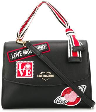 Love Moschino logo patch tote bag