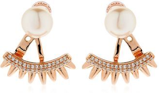 Pink Spikes Rose Silver Jacket Earrings $137 thestylecure.com