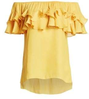 Halston Women's Ruffled Off-The-Shoulder Top - Marigold - Size Small