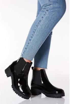 Quiz Wide Fit Black Patent Chelsea Ankle Boots