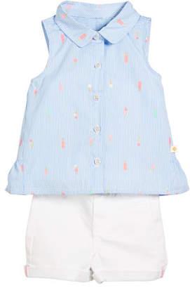Kate Spade Mini Ice Pops Sleeveless Blouse W/ Twill Shorts, Size 2-6x