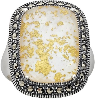 Mother of Pearl Lavish By Tjm Lavish by TJM Sterling Silver Crystal & Mother-of-Pearl Doublet Frame Ring - Made with Swarovski Marcasite