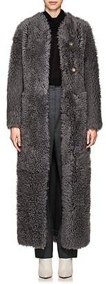 The Row Women's Tralman Shearling Collarless Coat - Grey