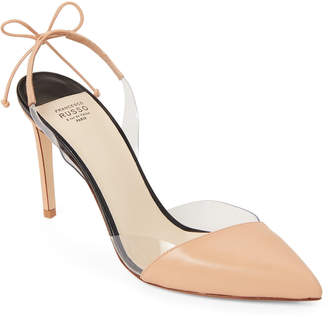 Francesco Russo Nude PVC-Trim Slingback Pumps