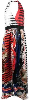 Balmain mixed print halterneck dress