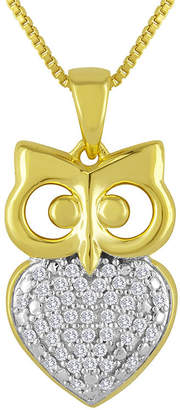 FINE JEWELRY 1/10 CT. T.W. Diamond 14K Yellow Gold Sterling Silver Owl Pendant Necklace