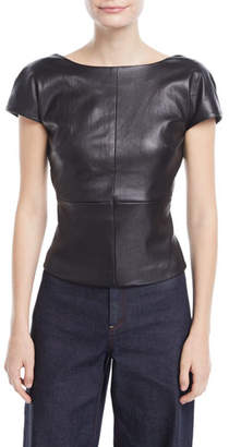 Rosetta Getty Backless Cap-Sleeve Fitted Leather Blouse