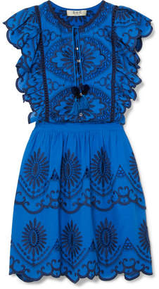 Sea Ruffled Broderie Anglaise Cotton-voile Mini Dress - Blue
