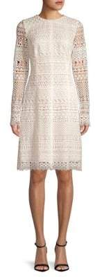 Oscar de la Renta Long-Sleeve Lace Sheath Dress