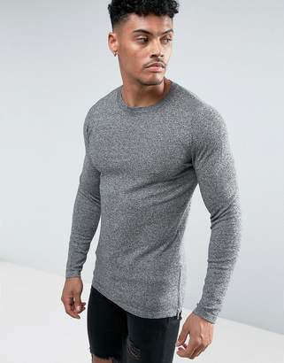 Asos DESIGN Longline Knitted Sweater with Side Zips In Salt & Pepper