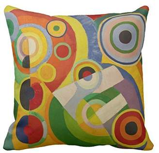 Rob-ert Sinluen Rhythm Joie De Vivre By Robert Delaunay 1930 Decorative Throw Pillow Cover for Living Room Canvas 18 x 18 Square Throw Pillow with Zipper
