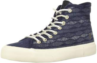 Frye Men's Ludlow High Canvas Print Sneaker Navy 8 Medium US