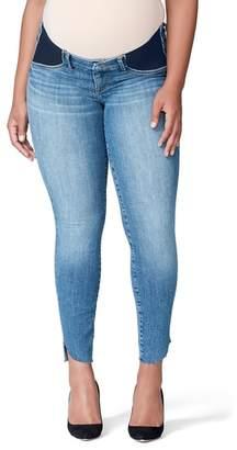 Good American Good Mama The Honeymoon Low Rise Cascade Hem Maternity Skinny Jeans