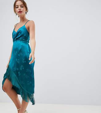 Asos Design Petite Lace Up Back Fringe Soft Jacquard Mini Dress