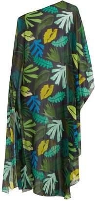 Kalmar - Asymmetric Palm Print Silk Cover Up - Womens - Green Multi