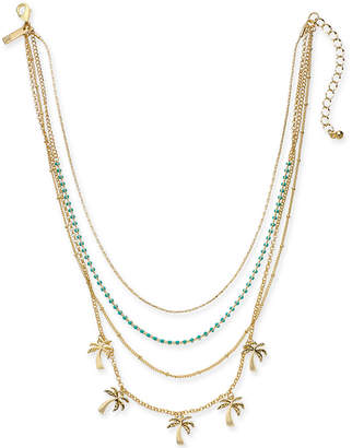"INC International Concepts I.n.c. Gold-Tone Bead & Palm Tree Layered Necklace, 15"" + 3"" extender, Created for Macy's"