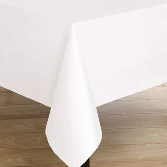 """Carnation Premium Quality White Flannel Back Textured Vinyl Tablecloth 52"""" x 70"""""""
