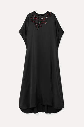 Christopher Kane Oversized Crystal-embellished Satin Maxi Dress - Black