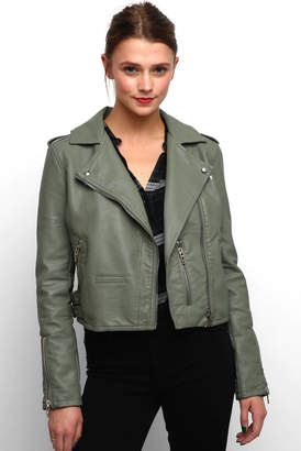 Blank NYC Olive Vegan Basic Motto Jacket