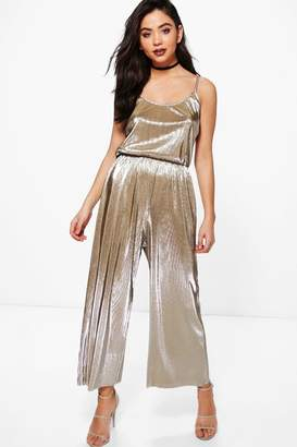 boohoo Ana Crinkle Metallic Strappy Culotte Jumpsuit