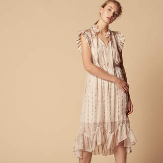 Sandro Silk loose-fitting ruffled dress