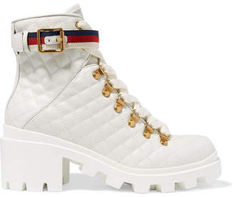 Gucci Trip Grosgrain-trimmed Quilted Leather Ankle Boots - White