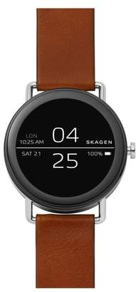 Skagen Falster Touchscreen Leather Strap Smart Watch, 42mm