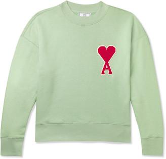 Ami Logo-Appliquéd Fleece-Back Cotton-Blend Jersey Sweatshirt