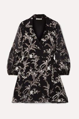 Alice + Olivia Alice Olivia - Gaston Devoré Silk-blend Chiffon Wrap Mini Dress - Black