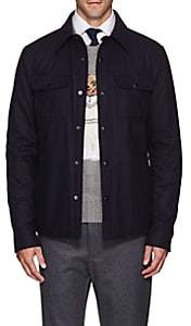 Ralph Lauren Purple Label Men's Wool-Blend Flannel Shirt Jacket - Navy