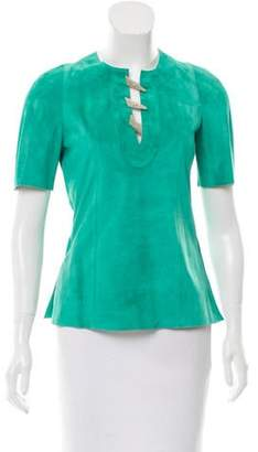 Derek Lam Short Sleeve Suede Leather Top w/ Tags