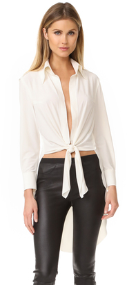 Norma Kamali Kamali Kulture Tie Front Shirt $150 thestylecure.com