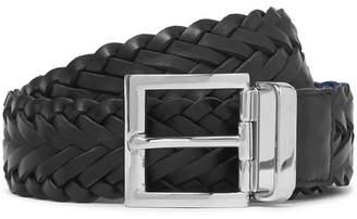 Prada 3.5cm Black And Blue Woven Saffiano Leather Belt