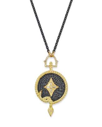 Armenta 18K Yellow Gold & Blackened Sterling Silver Old World White & Black Sapphire Serpent Necklace with Champagne Diamonds, 16
