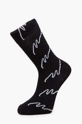 boohoo Embroidered Expedition Slogan Socks