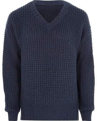 River Island Mens Navy waffle knit V neck sweater