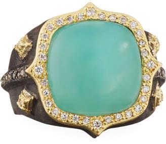Armenta 18k Old World Aquaprase & Diamond Ring