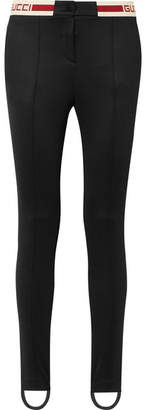 Gucci Striped Tech-jersey Stirrup Leggings - Black