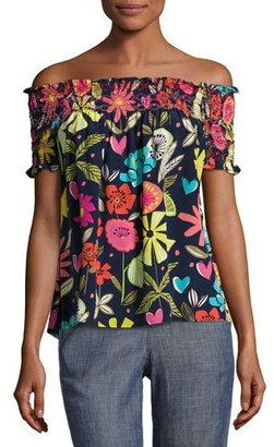 Trina Turk Relax Off-the-Shoulder Floral Silk Top, Blue $248 thestylecure.com