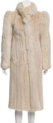 Maximilian Fox-Trimmed Mink Coat