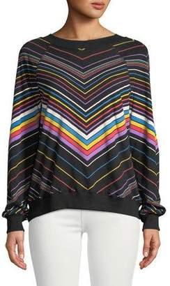 Wildfox Couture Chevron-Striped Crewneck Cotton Sweater Top